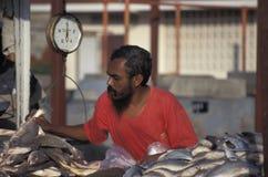 鱼卖主在特立尼达 免版税库存照片