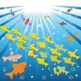 鱼及时浮动海洋 免版税库存照片