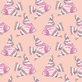 鱼变粉红色被绣的抽象无缝的样式 向量例证