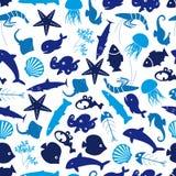 鱼和海洋生活无缝的样式 免版税库存照片