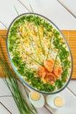 鱼和蛋沙拉 免版税库存图片