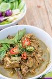 鱼器官变酸汤,泰国食物(Gaeng Tai Pla)。 库存图片