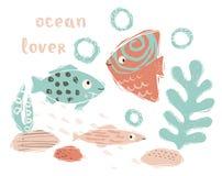 鱼婴孩逗人喜爱的印刷品 甜海洋动物 海洋恋人-文本口号 库存例证