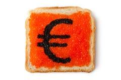 鱼子酱欧洲货币三明治 库存照片