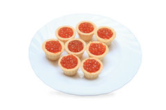 鱼子酱牌照红色果子馅饼白色 库存图片