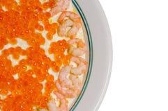 鱼子酱红色沙拉虾 免版税库存照片