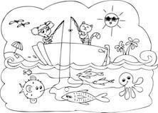 鱼小船比赛 免版税库存图片