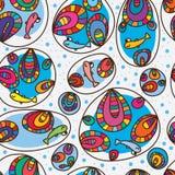 鱼愉快的五颜六色的泡影无缝的样式 库存图片