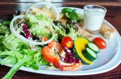 鱼排,烤三文鱼和新鲜蔬菜沙拉,法语星期五 免版税图库摄影