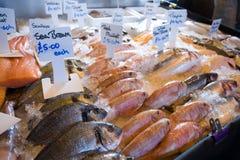 鱼新鲜市场停转 库存照片