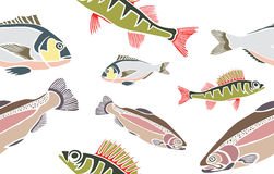 鱼无缝的样式 库存例证