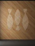 鱼木墙壁装饰背景 免版税库存图片