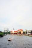 鱼村庄的看法,加里宁格勒,俄罗斯 葡萄酒街灯 库存照片