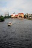 鱼村庄建筑学复合体在加里宁格勒 图库摄影