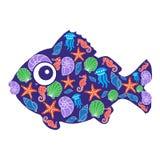 鱼样式-例证 免版税库存照片