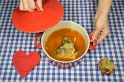 鱼汤用鲤鱼 免版税库存图片