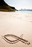 鱼沙子符号 免版税库存图片
