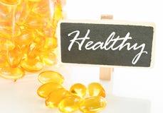 鱼油和健康文本 库存图片