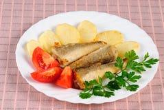 鱼油煎的土豆 免版税库存照片