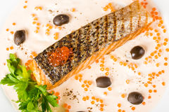 鱼油煎的橄榄 库存图片