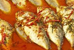 鱼油煎的辣 免版税库存照片