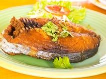 鱼泰国油煎的菜单 免版税库存图片