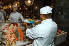 鱼海鲜市场和餐馆 库存图片
