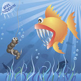 鱼满足蠕虫 向量例证