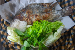 鱼烤与盐是泰国食物 库存照片