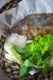 鱼烤与盐是泰国食物 图库摄影
