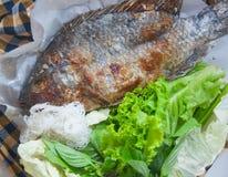 鱼烤与盐是泰国食物 免版税库存照片