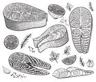 鱼片、牛排和未加工的片断用草本和柠檬 海鲜手拉的传染媒介剪影 免版税库存照片