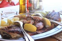 鱼特写镜头传统克罗地亚盘在咖啡馆的 库存图片