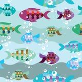 鱼的无缝的模式在海运 免版税库存图片
