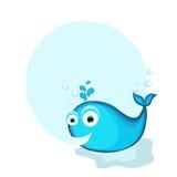 鱼的概念在蓝色颜色的 库存图片