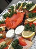 鱼盛肉盘 库存图片