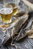 鱼矛:烘干,烘干与一杯啤酒 免版税库存照片