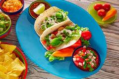 鱼肉玉米卷墨西哥食物鳄梨调味酱捣碎的鳄梨酱烤干酪辣味玉米片和辣椒 库存图片