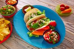 鱼肉玉米卷墨西哥食物鳄梨调味酱捣碎的鳄梨酱烤干酪辣味玉米片和辣椒 库存照片