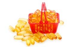 鱼肝油在手提篮的Ω 3 免版税库存照片