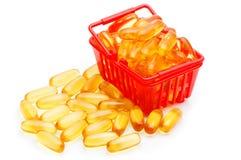 鱼肝油在手提篮的Ω 3 免版税库存图片