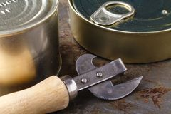 鱼能与在木桌上的开罐头用具 图库摄影