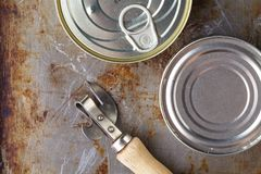 鱼能与在木桌上的开罐头用具 库存照片