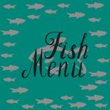 鱼菜单圆的模板 免版税库存图片