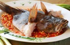 鱼被蒸的全部 免版税库存照片