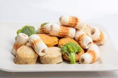 鱼酱蛋糕和mochi日本食品成分图象的 免版税库存照片