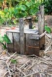 鱼陷井由木头制成 免版税库存照片