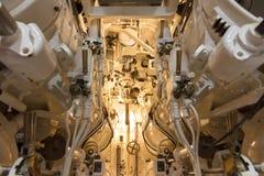 鱼雷发射管控制在潜水艇的 库存照片