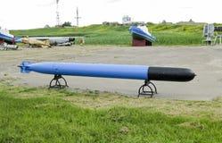 鱼雷 军用设备和弹药的纪念碑 鱼雷 库存照片