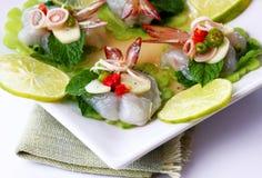 鱼食物调味汁泰国海运的虾 免版税库存图片